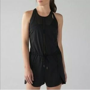 Lululemon Black Revitalize Romper Sheer Mesh Panel